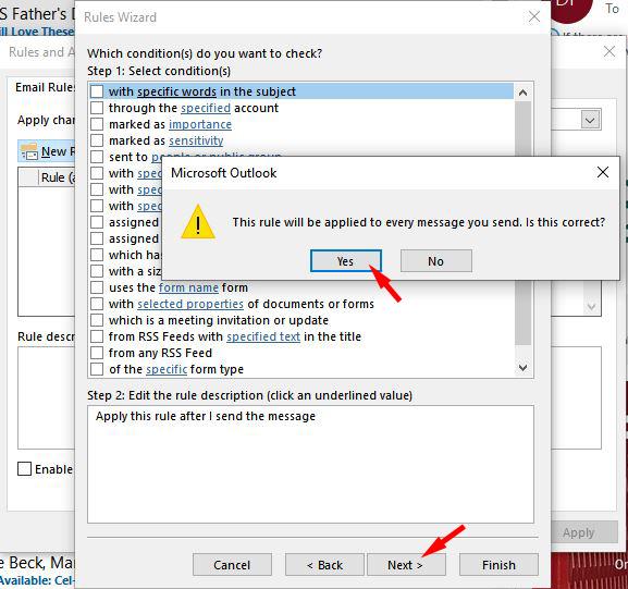 Outlook acepta la regla aplicada a cada mensaje
