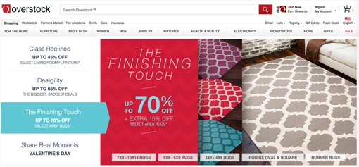 Overstock.com front page