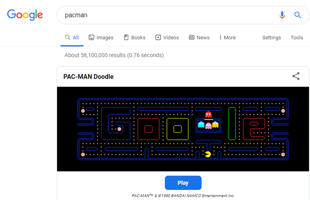 Pacman game in Google search