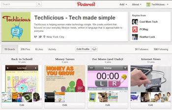 Pinterest Techlicious boards