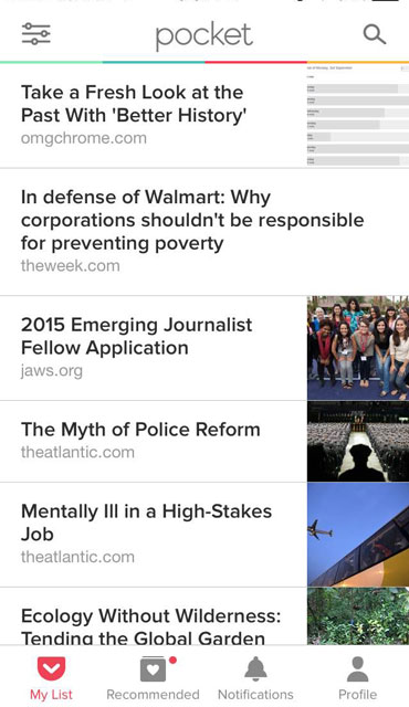 Pocket Mobile News Aggregator iOS