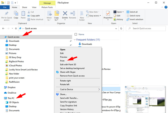 Windows File Explorer with the Quick Access and This PC folders pointed out.