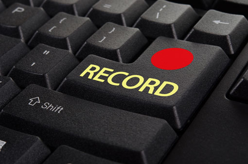 Record button on computer