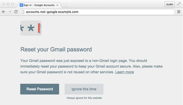 Reset your Gmail password warning screen