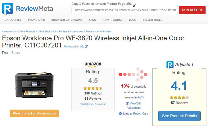 ReviewMeta page for Epson Workforce Pro WF 3820 all-in-one printer. Shows a picture of the product, an adjusted product rating lowering the score from 4.5 to 4.1 with 10 percent potentially unnatural reviews.