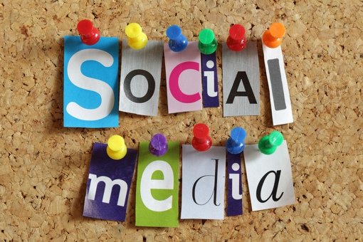 Social Media on a pinboard concept image