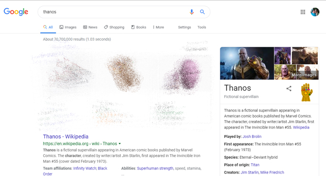 Thanos Google search