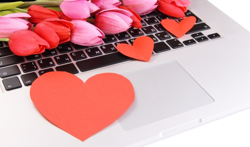 Flowers and hearts on a laptop