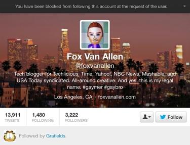Twitter blocked user notification