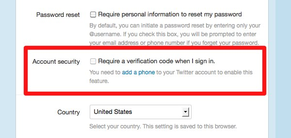 Twitter two-step authentication