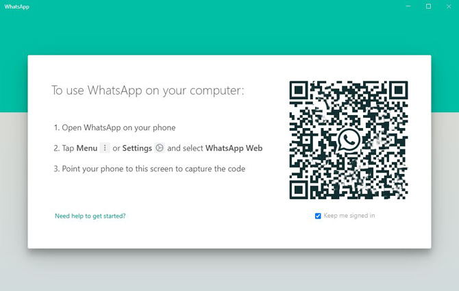WhatsApp Desktop screenshot showing QR code for pairing with a smartphone