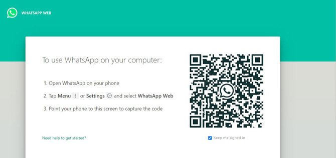 WhatsApp Web screenshot showing QR code for pairing with a smartphone