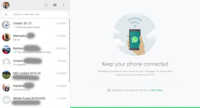 WhatsApp Web list of chats and message to keep your phone connected to receive messages.