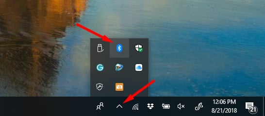 Bluetooth button on Windows 10