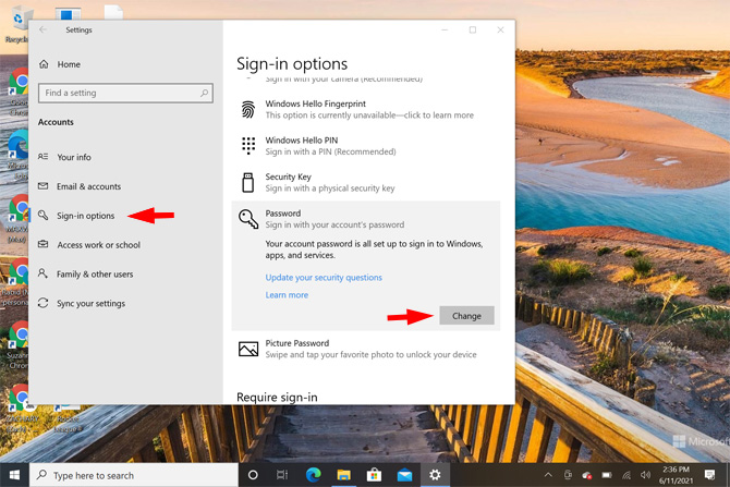 Screenshot of Windows 10 Settings app showing Sign-in options pointed out under Accounts and the password option highlighted and the word change pointed out.