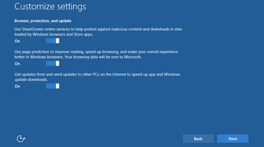 Windows 10 settings: leave SmartScreen on