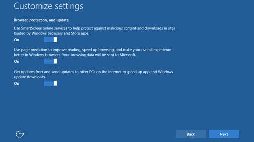 Windows 10 settings: leave SmartScreen on