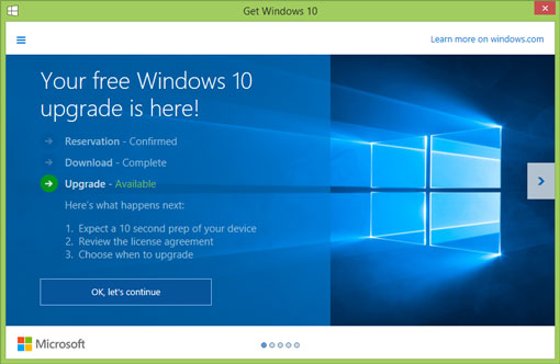 Windows 10 Upgrade Available