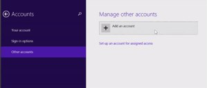 Windows 8.1 -- Adding an account