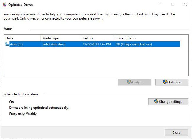 Windows Defragment and Optimize drives