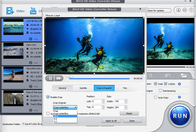 WinX HD Video Converter editing tools