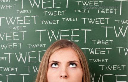 woman with tweet blackboard