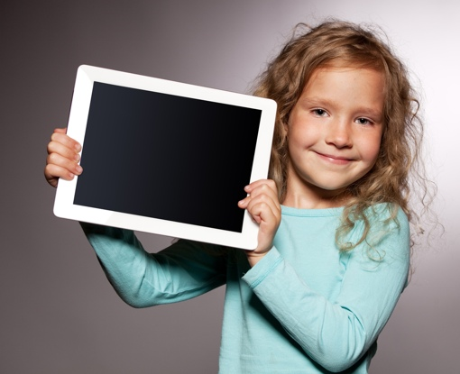 Young child with tablet
