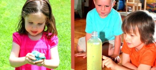 Kids performing science experiements