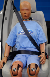 Ford seat belt with airbag uninflated