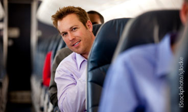 Man sitting on airplane