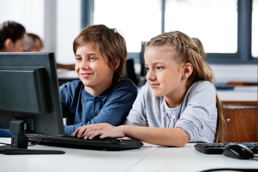 Students using the Internet at school
