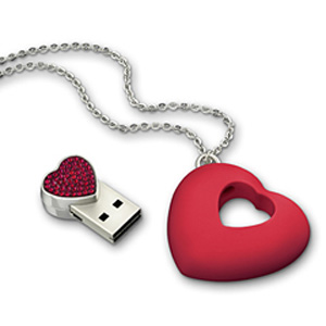 Swarovski USB Heart Necklace