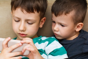Kids using a smartphone