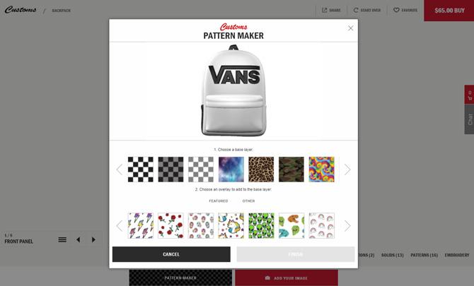 Vans custom bsckpack designer