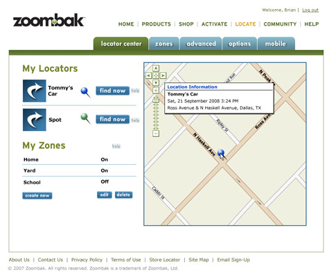 Zoombak online tracking application