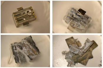 Time-lapse photos of the biodegradable battery
