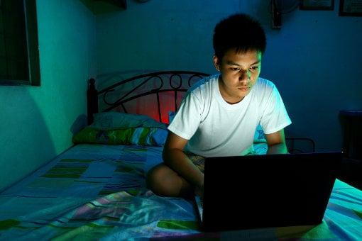 Blue light from laptop screen