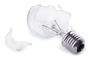 broken incandescent light bulb