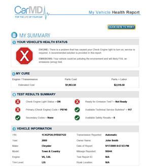 CarMD report