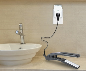 D-Link Wi-Fi Smart Plug in use in a bathroom