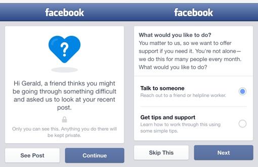 Facebook Suicide Help prompts