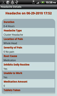 Headache Diary Pro app for Android