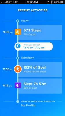 Jawbone UP 3.0 app sleep reminder