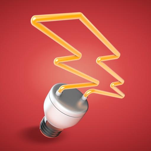 Light bulb shaped like a bolt of electricity