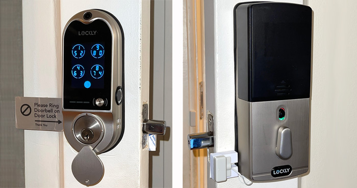 Lockly Vision smart door lock exterior and interior shots