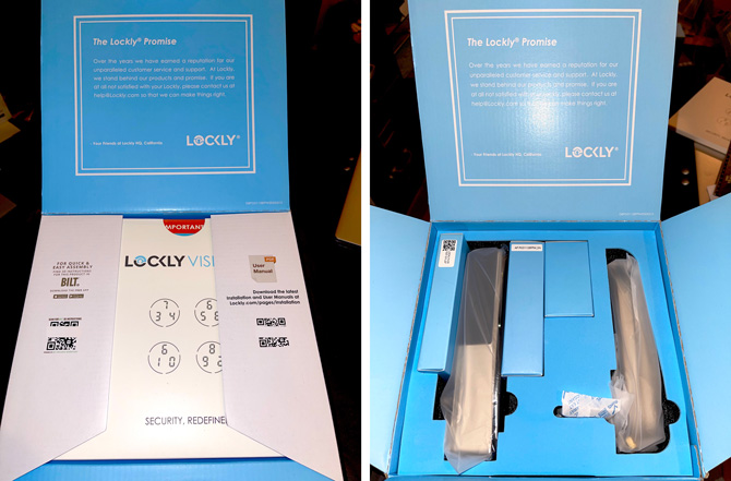 Lockly Vision interior of the box, showing the QR codes with flaps closed and with flaps open.