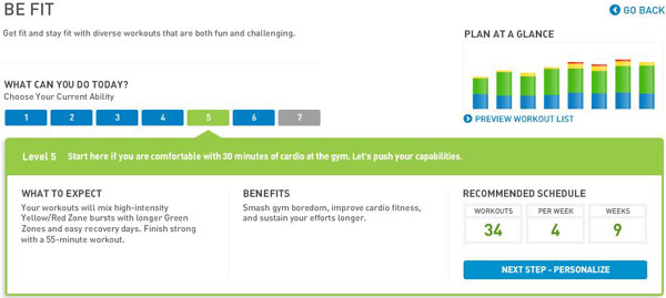 miCoach Be Fit Plan