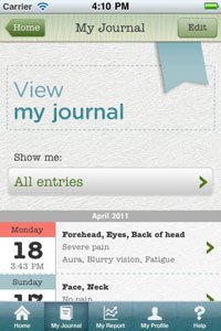 Migraine Notebook app for iPhone