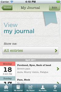 Migraine Notebook app for iPhone