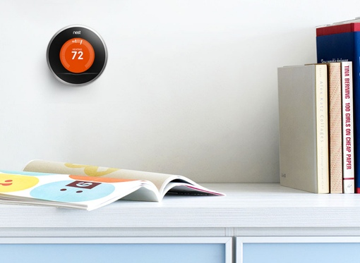 Nest Learning Thermostat above a table